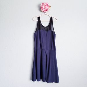 Pink Jewel Navy Mesh Panel Detail Bow Back Dress